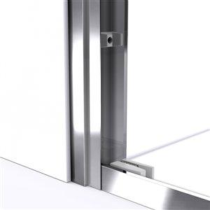 DreamLine Framed Shower Door and Base - 34-in x 60-in - Nickel