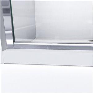 DreamLine Infinity-Z Shower Door/Base Kit - 60-in - Chrome