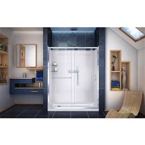 DreamLine Infinity-Z Shower Door/SlimLine Base - 60-in- Chrome