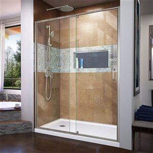 DreamLine Flex Shower Door/SlimLine Base - 36-inx 60-in - Nickel