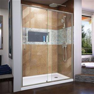 DreamLine Flex Shower Door and Base - 32-in x 60-in - Nickel