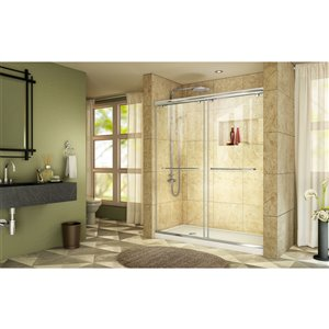 DreamLine Charisma Glass Shower Door and Base - 60-in - Chrome