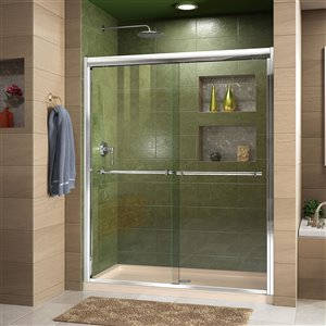 DreamLine Duet Shower Door and Base - 36-in x 48-in - Chrome