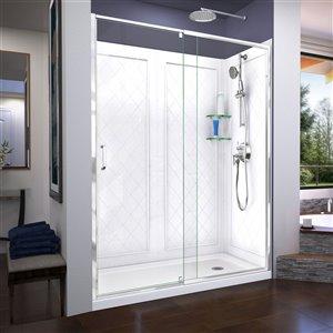 DreamLine Flex Shower Door/Base Kit  - 60-in x 76-in - Chrome