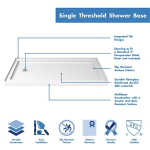 DreamLine QWALL-3 Shower Base and Backwalls - 60-in - White