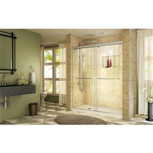 DreamLine Charisma Shower Door/Base - 60-in - Nickel/Biscuit