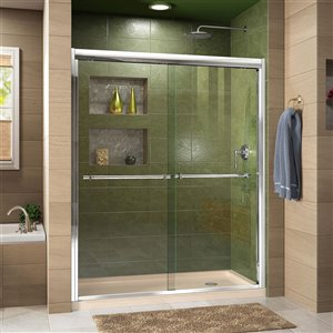 DreamLine Duet Sliding Shower Door/Base - 34-in x 60-in - Chrome