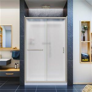 DreamLine Infinity-Z Shower Door and Base Kit - 48-in - Nickel