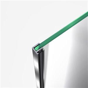 DreamLine Flex Shower Door and Base Kit - 60-in x 76-in - Nickel