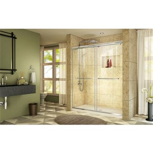DreamLine Charisma Shower Door/Base - 60-in - Chrome/Biscuit