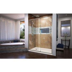 DreamLine Flex Pivot Shower Door/Base - 36-in x 60-in - Nickel