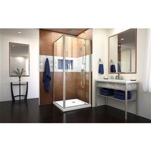 DreamLine Flex Shower Enclosure Kit - 32-in x 74.5-in - Nickel