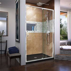DreamLine Flex Tub/Shower Door and Base - 32-in x 42-in - Chrome