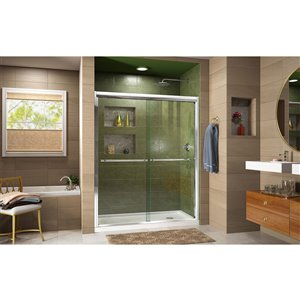 DreamLine Duet Shower Door/Acrylic Base - 30-in x 60-in - Chrome