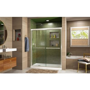DreamLine Duet Sliding Shower Door/Base - 30-in x 60-in - Nickel