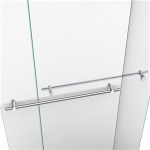 Dual Shower Glass Door/Acrylic Base - 34-in x 60-in - Chrome