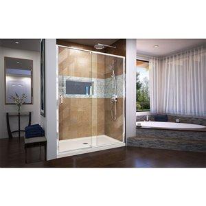 DreamLine Flex Shower Door/Acrylic Base - 32-in x 60-in - Chrome
