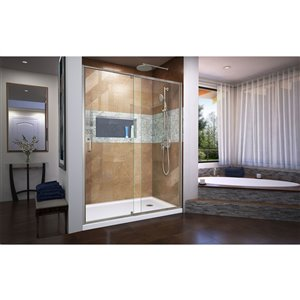 DreamLine Flex Shower Door and Base - 36-in x 60-in - Nickel