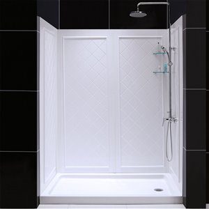 DreamLine QWALL-5 Shower Base/Backwalls Kit - 60-in - White
