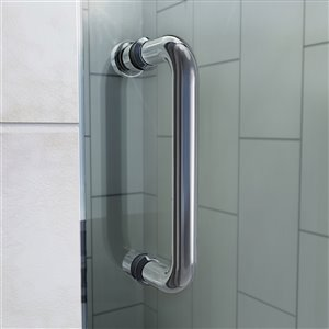 DreamLine Flex Shower Door and Base Kit - 32-in x 32-in - Nickel