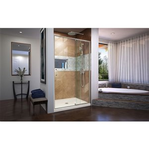 DreamLine Flex Pivot Shower Door/Base - 36-in x 48-in - Nickel