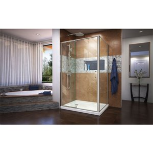 DreamLine Flex Shower Enclosure/Base Kit - 48-in - Nickel