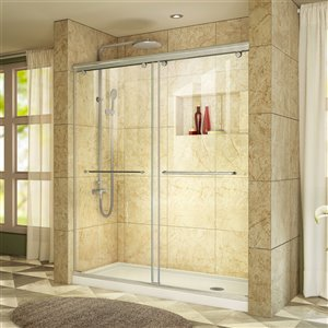 DreamLine Charisma Shower Door and Base - 60-in - Nickel/White