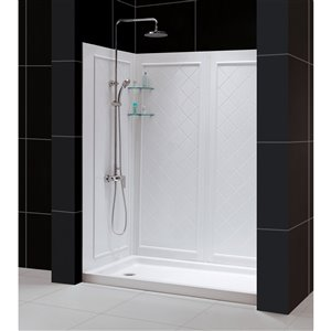 DreamLine QWALL-5 Shower Base and Backwalls - 60-in - White