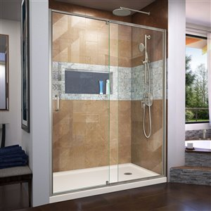 DreamLine Flex Shower Door/Base Kit - 36-in x 60-in - Nickel
