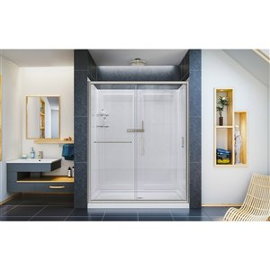 DreamLine Infinity-Z Shower Door and Base Kit - 60-in - Nickel