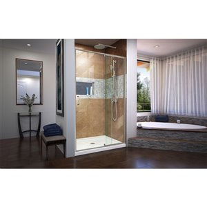 DreamLine Flex Shower Door/SlimLine Base - 34-inx 42-in - Nickel