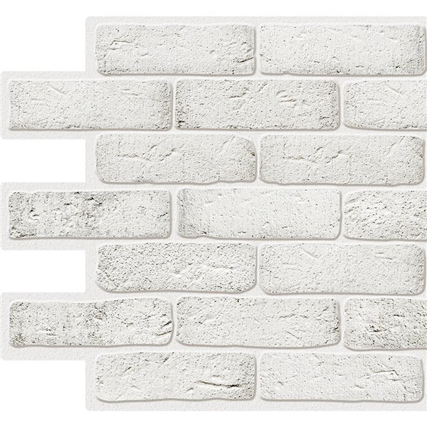 Dundee Deco Pvc 3d Wall Panel White Faux Bricks 3 2 Ft X 1 6 Ft Lowe S Canada