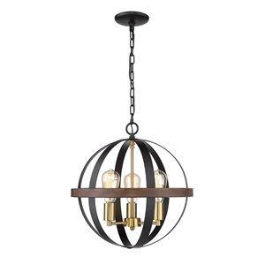 Millennium Lighting 3 Light Pendant - Matte black/Heirloom bronze