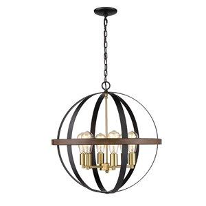 Millennium Lighting 5 Light Pendant - Matte black/Heirloom Bronze