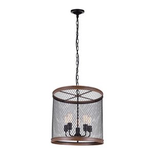 CWI Lighting Torres 5 Light Drum Shade Chandelier with Black finish