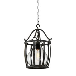 CWI Lighting Imperial 1 Light Down Mini Pendant with Antique Black finish