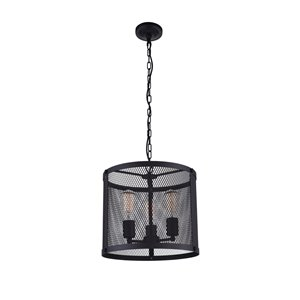 CWI Lighting Heale 3 Light Drum Shade Pendant with Reddish Black finish