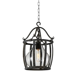 CWI Lighting Imperial 1 Light Down Pendant with Antique Black finish