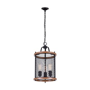 CWI Lighting Kayan 3 Light Drum Shade Mini Chandelier with Black finish