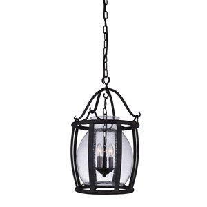 CWI Lighting Imperial 3 Light Up Pendant with Antique Black finish