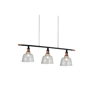 CWI Lighting Tower Bell 3 Light Pool Table Light - Black, Copper and Smoke