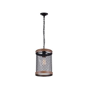CWI Lighting Torres 1 Light Drum Shade Mini Chandelier with Black finish
