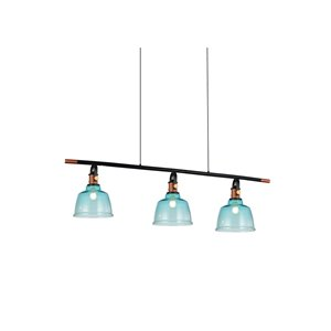 CWI Lighting Tower Bell 3 Light Pool Table Light - Black, Copper and Blue
