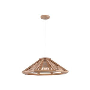 CWI Lighting Lante 1 Light Down Pendant with Black & Wood finish