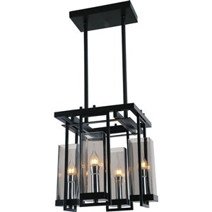 CWI Lighting Vanna 4 Light Up Mini Pendant with Black finish
