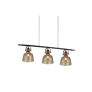 CWI Lighting Tower Bell 3 Light Pool Table Light - Black, Copper and Cognac