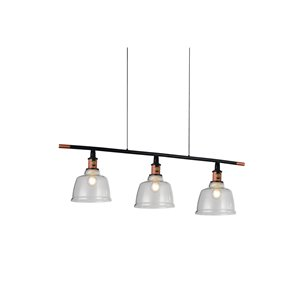 CWI Lighting Tower Bell 3 Light Pool Table Light - Black, Copper and Clear Glass