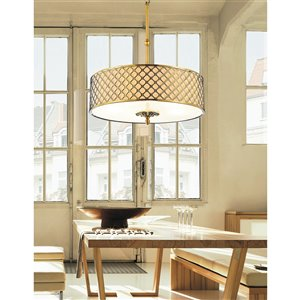 CWI Lighting Gloria 4 Light Drum Shade Chandelier with French Gold finish