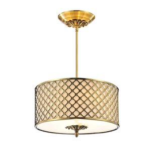 CWI Lighting Gloria3 Light Drum Shade Chandelier with French Gold finish