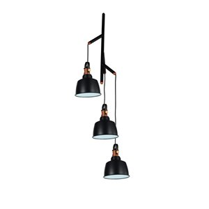 CWI Lighting Tower Bell 3 Light Down Pendant with Black finish